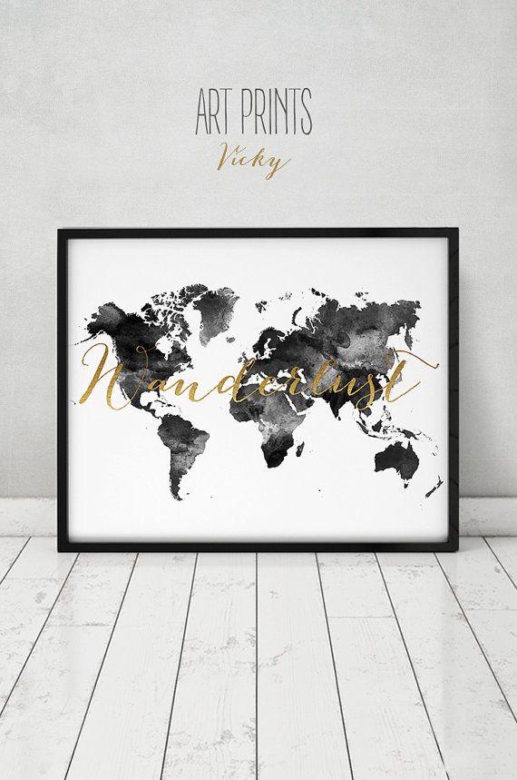 Fernweh, Welt Karte Aquarell print, Welt Karte Poster, Reisekarte, schwarz / weiß mit faux gold Text, Hochzeit Gästebuch, ArtPrintsVicky.