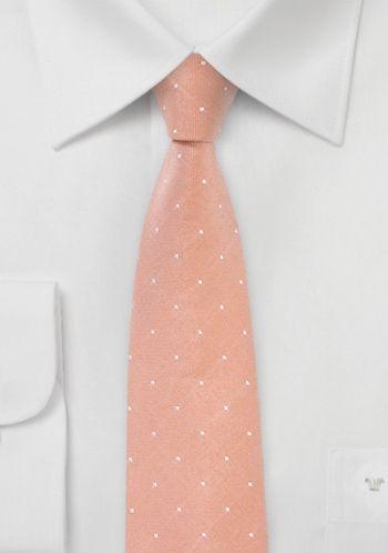 3cec5d3d84d3 Cravate pois abricot étroite - Cravate étroite et élégante qui séduira les  amateurs de mode. Cette cravate parsemée de petits points blancs sur un  fond de ...
