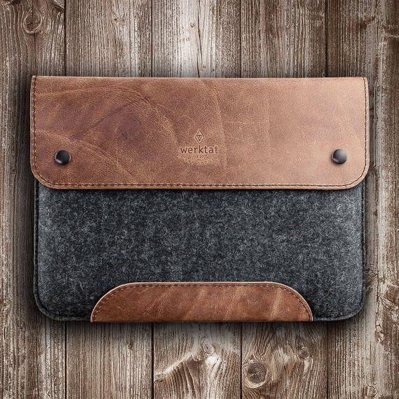 MacBook Pro, Air case leather felt sleeve men gift
