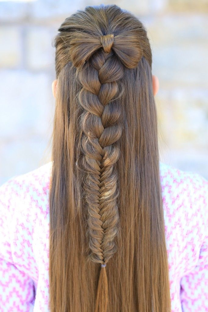 The 25 best cute girls hairstyles ideas on pinterest fun braids half up bow combo cute girls hairstyles urmus