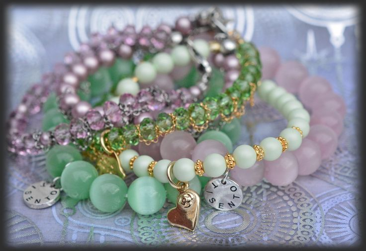 TI SENTO and Swarovski faceted gemstones stacked bracelets