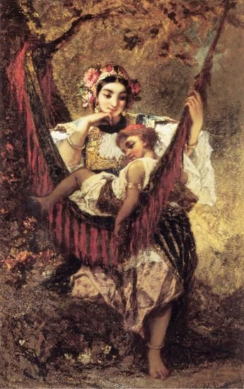 Mother and Child :: Narcisse-Virgile Dнaz de la Peсa - Woman and child in painting and art