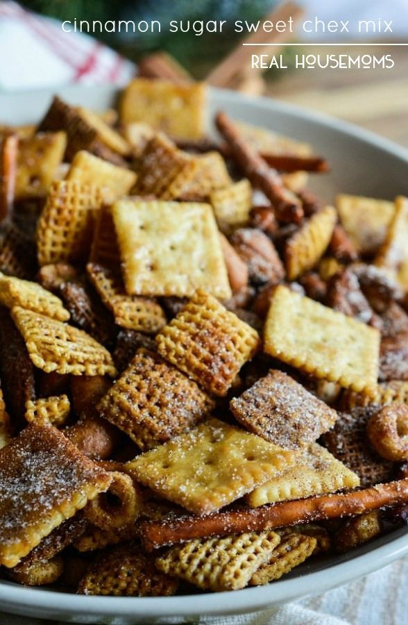 Make this CINNAMON SUGAR SWEET CHEX MIX recipe for a new twist on the original version. All of the great Chex Mix crunch with a cinnamon sugar coating!