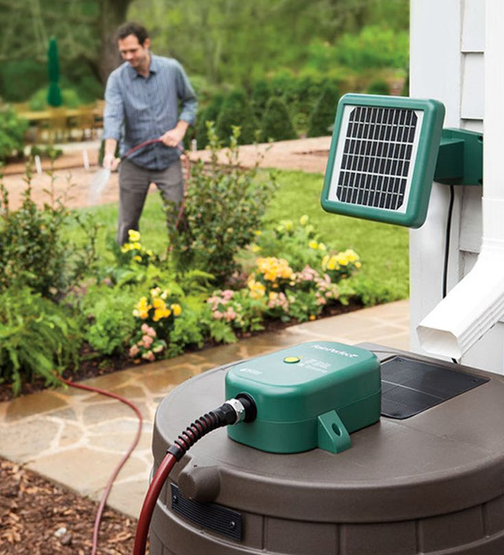 The solar powered rain barrel pump system provides pressurized pumping through a garden hose with no electrical outlet required. This high powered system pumps up to 100 gallons on a single charge.