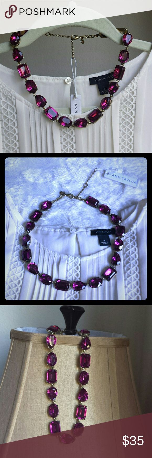 "NWT Ann Taylor Crystal Statement Necklace Ann Taylor Hot Pink Crystal/Gemstone Statement Necklace  Beautiful hot pink gemstones in different shapes (teardrop, oval, square) are linked together on a gold tone plated chain. Definitely will make a statement! Lovely piece, one of my favorites. But had too many of the AT jewelries, so letting it go...   New with tag, never worn! A stunning piece, don't miss it if you like it!   Length: 17""+2.5"" extender Ann Taylor Jewelry Necklaces"