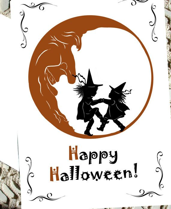 Items Similar To Happy Halloween Card Greeting Witch Moon Orange Black  Silhouette Scary On Etsy