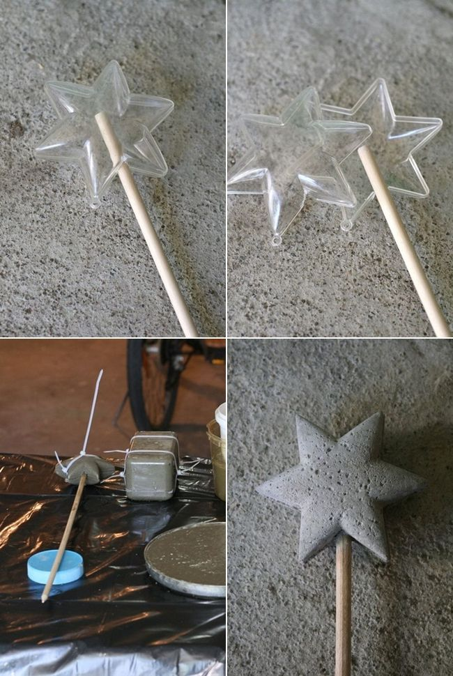 diy concrete magic wand star mould planter decor