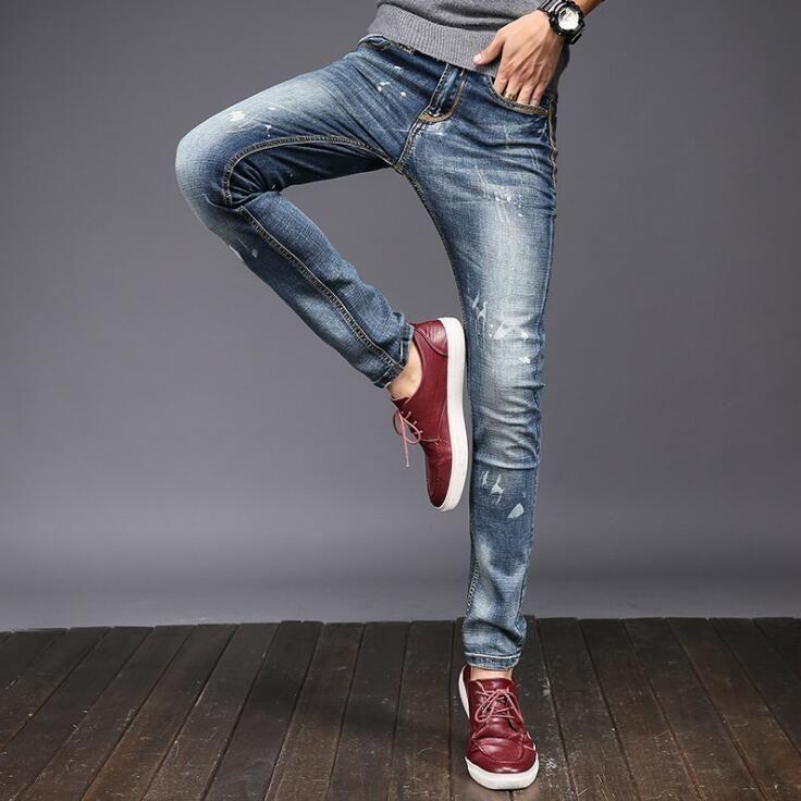 #1409 2017 Summer Distressed Skinny Stretch jeans Fashion Designer jeans men Pantalones hombre Denim Slim fit jeans hommes