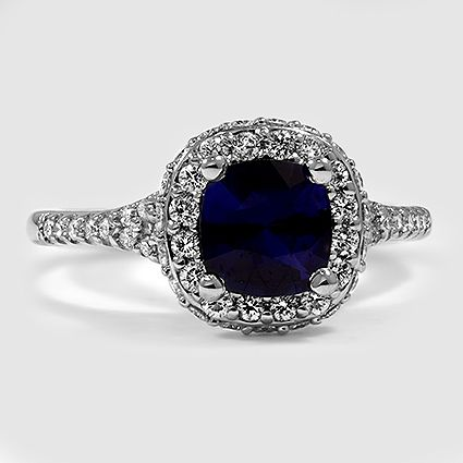Platinum Sapphire Circa Diamond Ring // Set with a 6mm Premium Blue Cushion Sapphire (From Unique Colored Gemstone Gallery) #BrilliantEarth