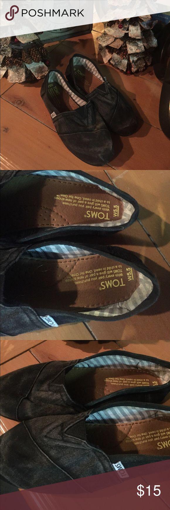 Toms stone wash 5.5 Excellent. Fantastic preloved Sz 5.5  black stone wash TOMS Shoes Flats & Loafers