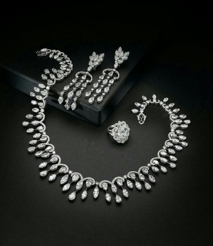 Dangle Earring 925 Sterling Silver White Marquise Wedding Set necklace Cz Ring* #NIKI #Chain