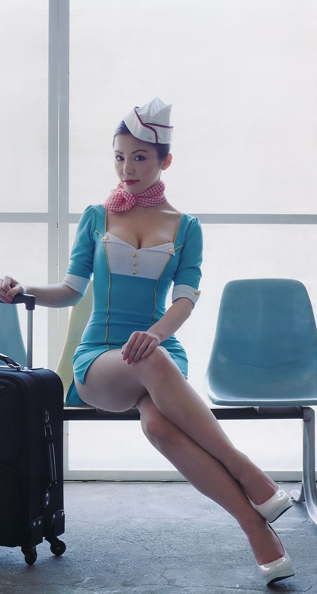 Airline hostess with nice tits 8