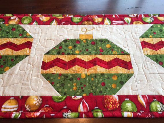 quilted christmas table runner red gold and green by quiltmix
