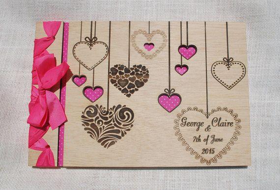 custom wood wedding guest book A4 photo album by WoodYourDay