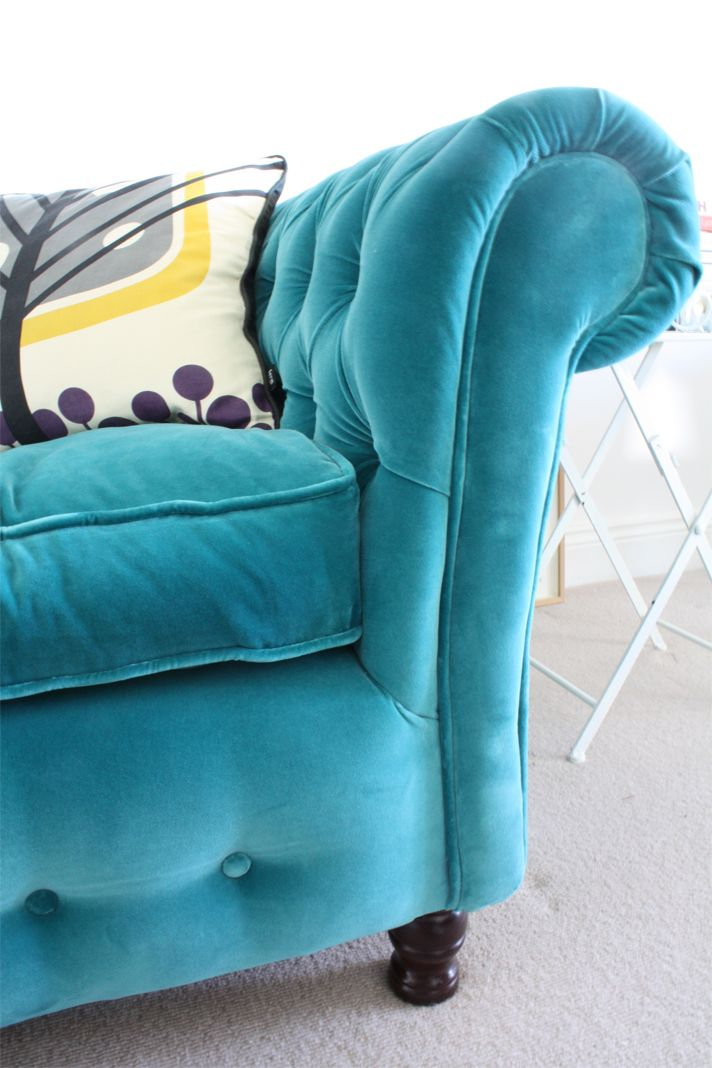 Teal velvet chesterfield - love the color of the sofa! Funny how I get rid of teal carpet only to want teal furniture ...