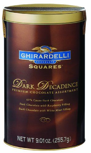 Ghirardelli Chocolate Squares, Dark Decadence, 9.01-Ounce Tall Oval Tins (Pack of 2)