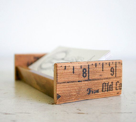 upcycled ruler into a buisness card holder for your office desk