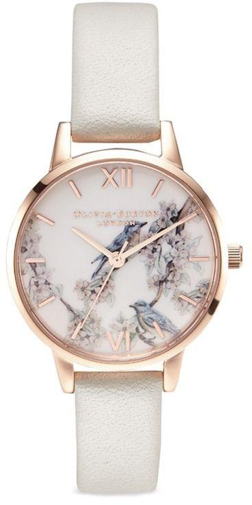 Olivia Burton 'Blossom Birds' leather strap 30mm watch