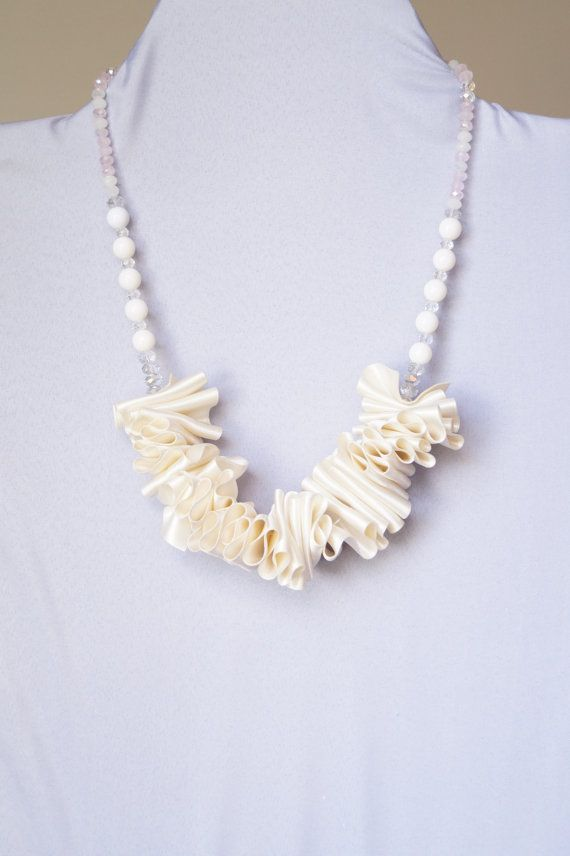 Collana nastro raso collana bianca gioielli stoffa di Bazari