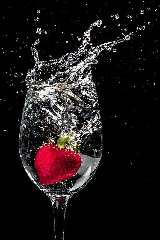 macro photography - strawberry splash
