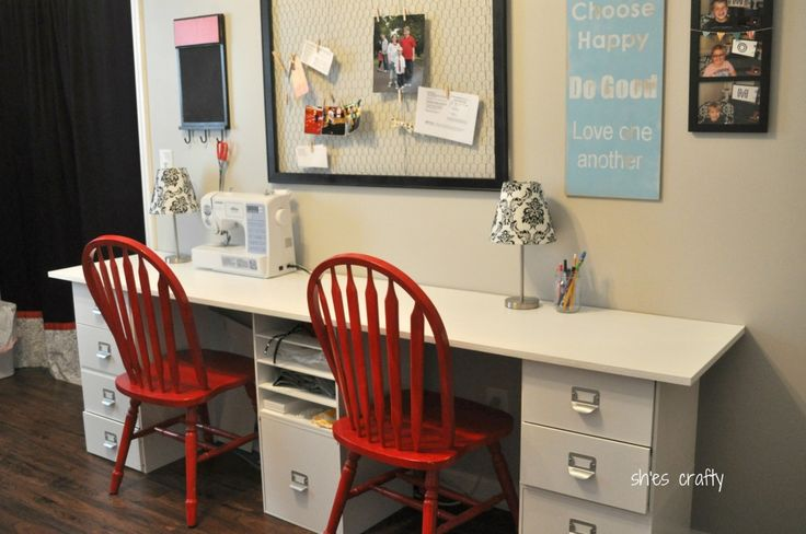 Organizers from Michael's (at 50%), work surface is MDF custom-cut at Lowe's.  Love the chicken wire bulletin board too!Craft Space, Crafts Spaces, Boy Rooms, Room Ideas, Sewing Crafts Room, Boys Room, Crafts Offices Room, Craft Rooms, Chairs Setup