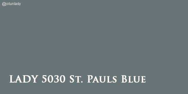 LADY 5030 St. Pauls Blue En kombinasjon av blått med en undertone av det grålige og et hint av grønnlighet. Passer: grønnaktig blåtoner som 5249 Linblå, gylne grå som 1024 Tidløs, 1391 Lys Antikkgrå, 1973 Antikkgrå, 1032 Grå Harmoni, 1877 Valmuefrø, 1462 Grå Skifer, eller 8470 Smooth White. Unngå: varme blåtoner som Byge, Kveldshimmel og Deco Blue. . Fungerer godt til både 1001 Egghvit og 1453 Bomull, – samt til 9918 Klassisk Hvit, 7236 Chi og 1624 Letthet.