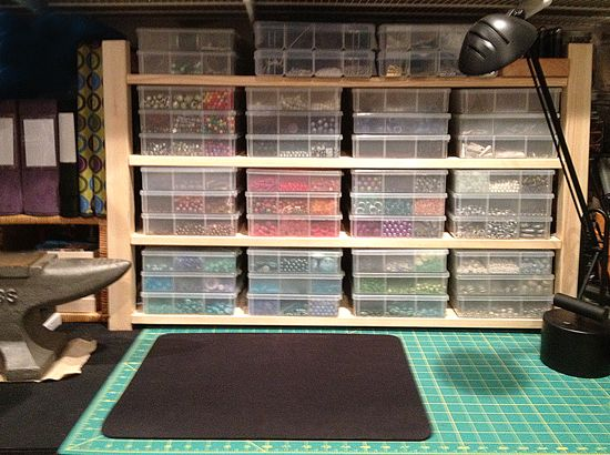 Modified IKEA shelving unit to organize jewelry / bead boxes in my craft room
