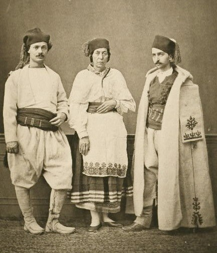 Photograph - 1873 - Crete - Christian villagers of Hanoia (Chania); Resident of Isfakia (Sphakia)