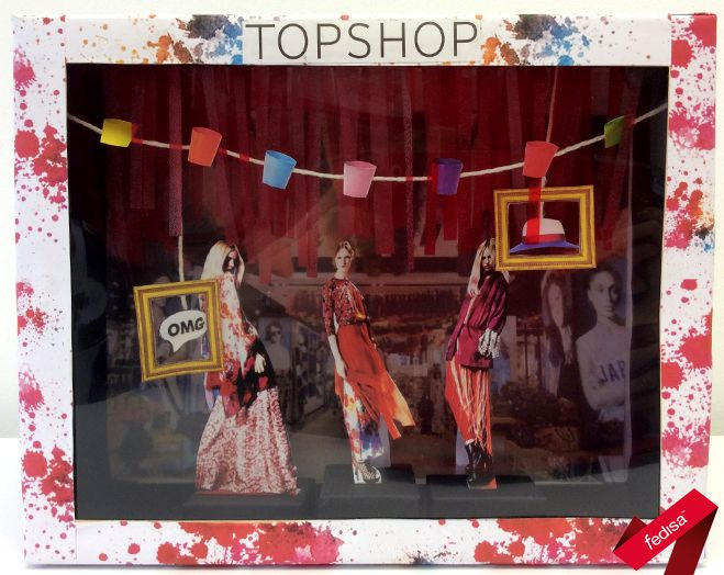 Window display proposal for a fashion brand, created in small-scale using shoeboxes and paper. Shoeboxes sponsored by Zoom Footwear. [2nd year 2015]