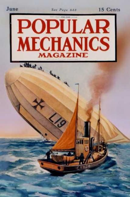 Downed German Airship on Cover of Popular Mechanics