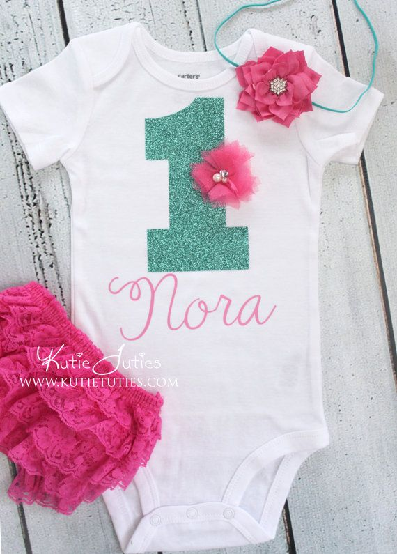 Hot Pink & Glitter Aqua Birthday Onesie 1 one door KutieTuties