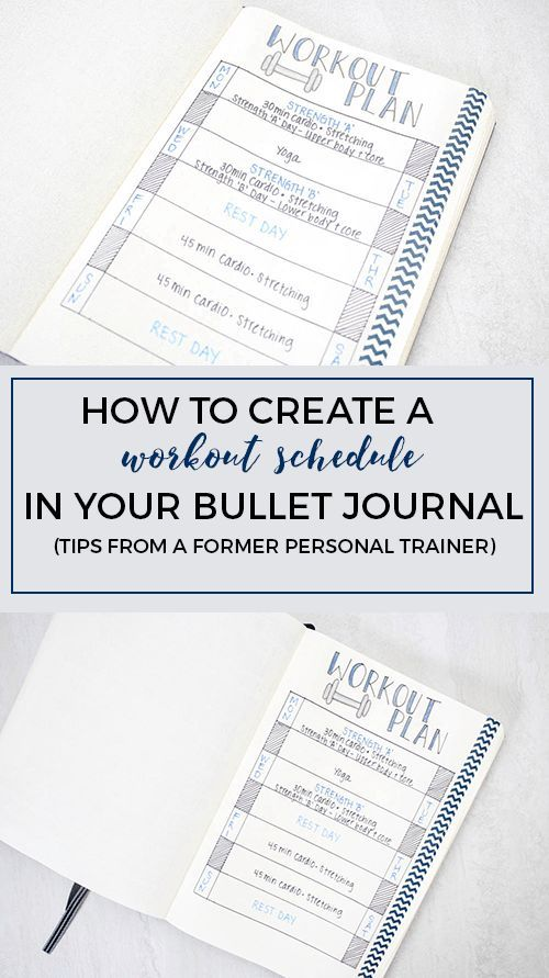 Creating a workout schedule in your bullet journal (written by a former personal trainer!)