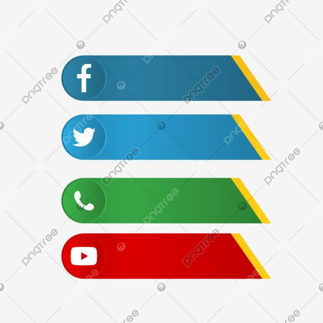 Facebook Twitter Whatsapp Youtube Lower Third In Flat Style Sign Graphic Media Png And Vector With Transparent Background For Free Download Lower Thirds Infographic Marketing Arrow Text
