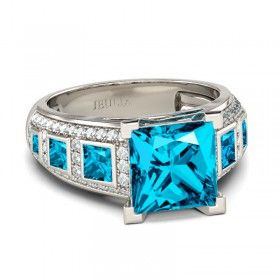 Exquisite Princess Cut Created Aquamarine Rhodium Plated 925 Sterling Silver Women's Ring