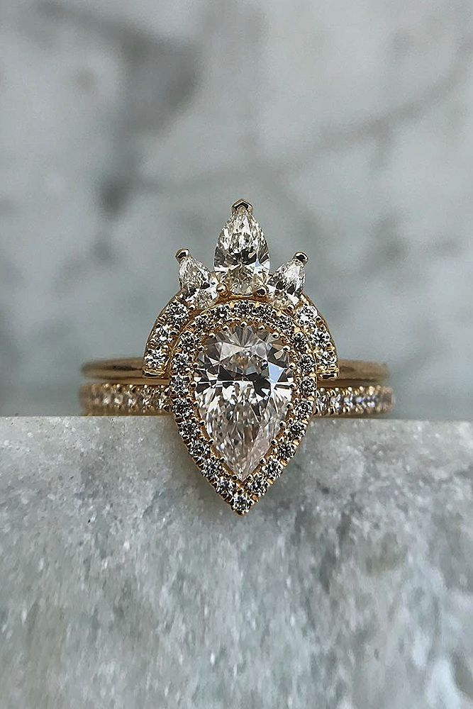 6 Most Popular Engagement Ring Designers ❤️ engagement ring designers pave band pear cut rose gold halo unique set ❤️ More on the blog: https://ohsoperfectproposal.com/engagement-ring-designers/