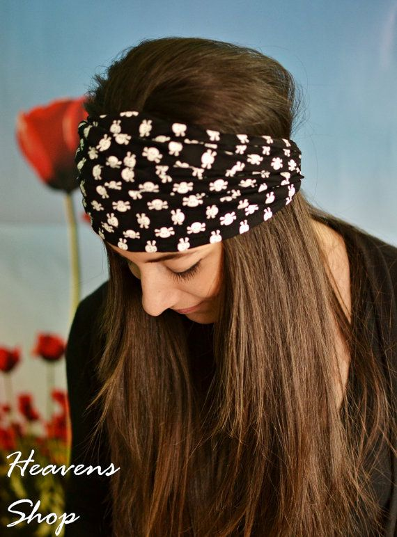 Black And White Stretchy Headband Wide Turban With by HeavensShop, €13.00