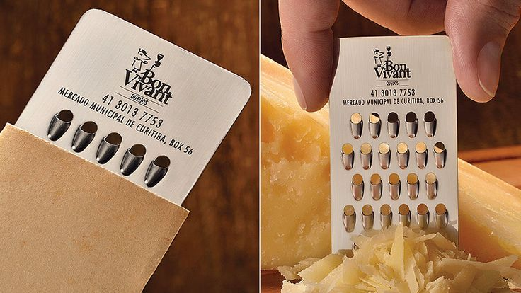 Cheese Store Bon Vivant has a tiny grater business card. Rumor has it that customers are only allowed to come back to the store after two or three days to take another card - designed by JWT Brazil