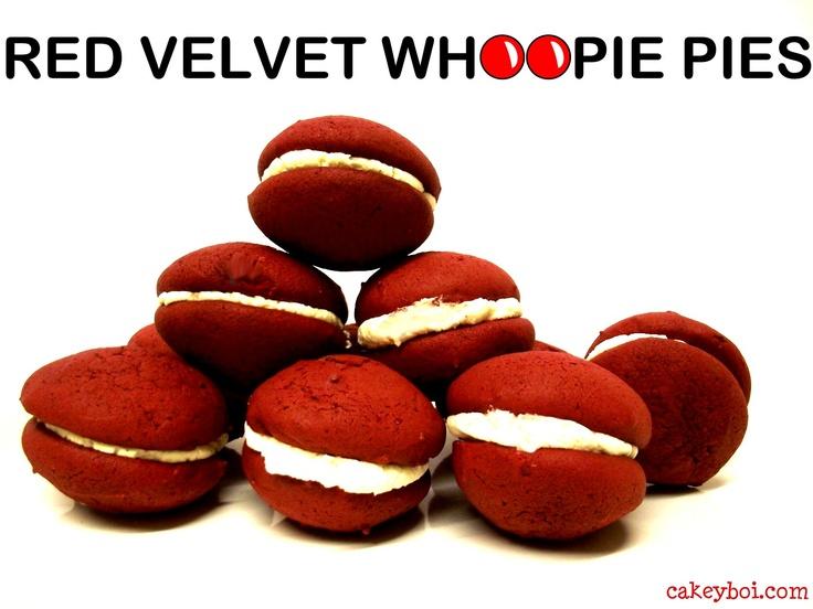 Red Velvet Whoopie Pies http://www.cakeyboi.com/2013/03/red-velvet-whoopie-pies-for-red-nose-day.html