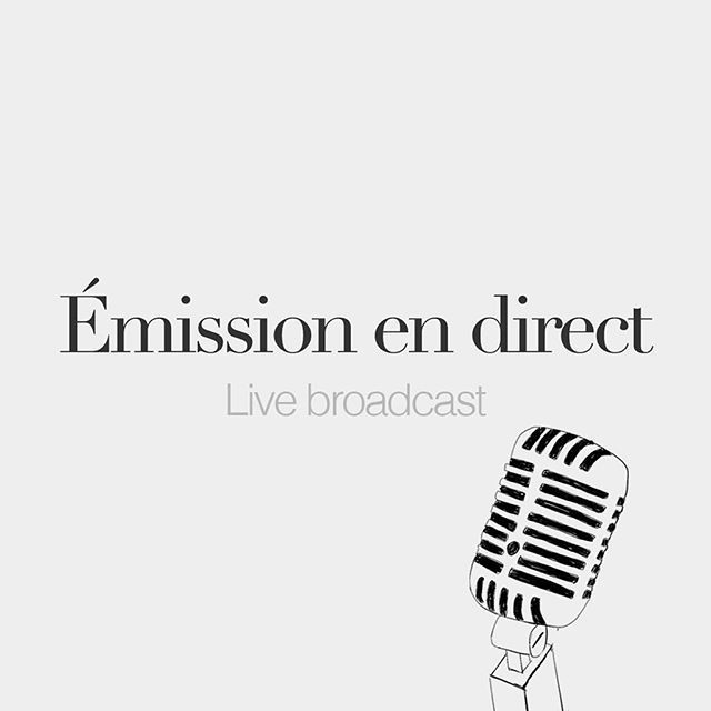Émission en direct (feminine word) • Live broadcast • /e.mi.sjɔ̃ ɑ̃ di.ʁɛkt/ • Drawing: @merritkoek Tonight, I was invited on Nineteen Radio, an independent radio station, to talk about the French language and French Words.  Thanks guys for this...
