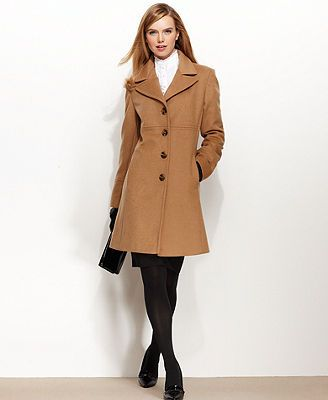 Larry Levine Coat, Wool-Blend Classic Walker