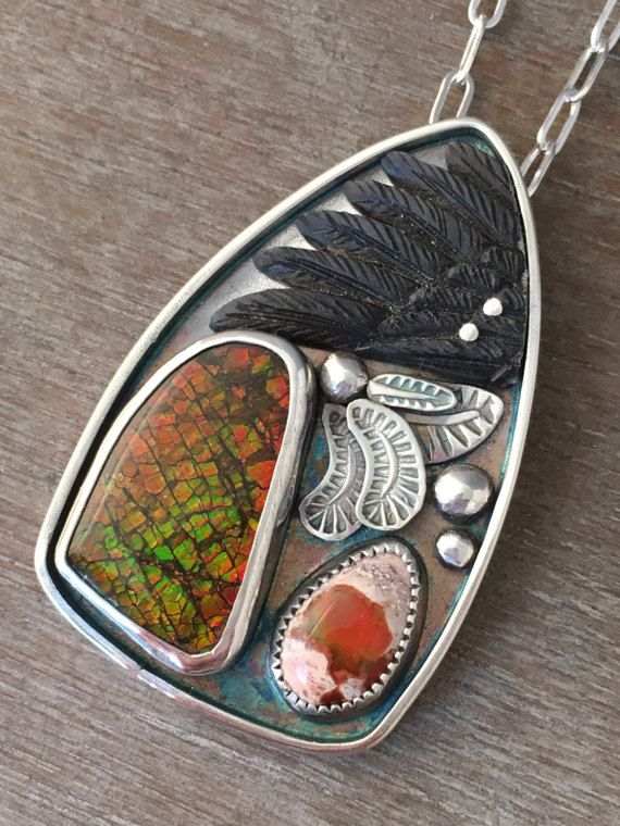Ammonite and opal black wing story necklace.
