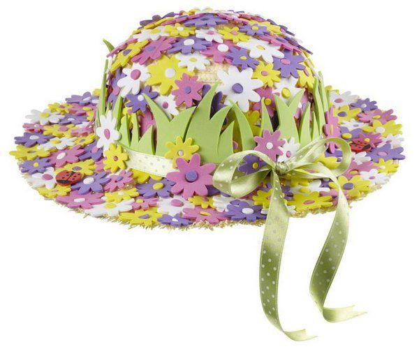 Flower Garden Easter Bonnet. Use colorful flowers foam stickers to cover the hat. Stick the grass from green sheets of foam around the hat. Tie the lengthy ribbons in a bow at last to finish off its beautiful design.