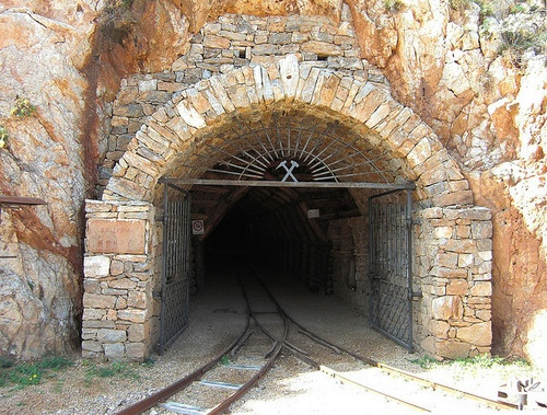 Tunnel entering the abandoned mines of Buggerru, Sardinia