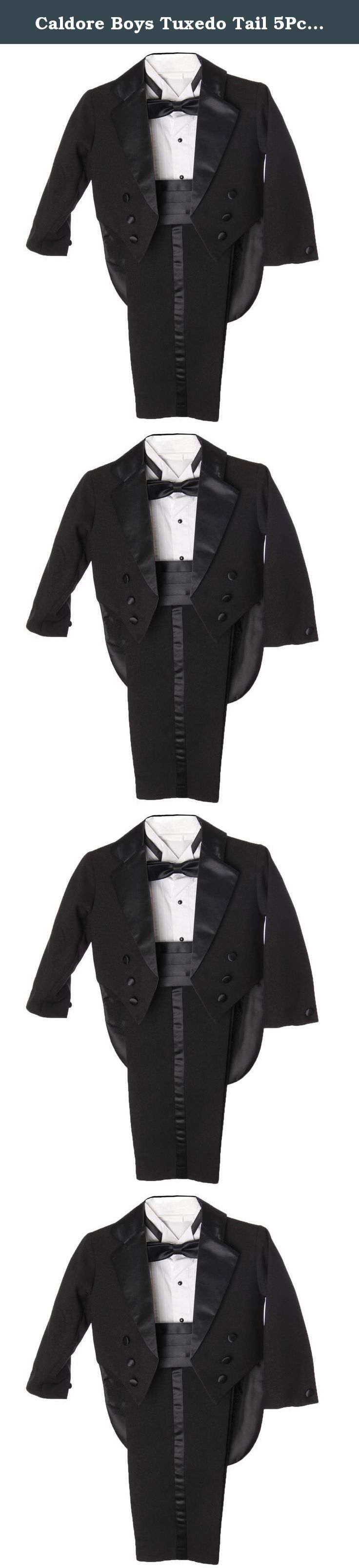 Caldore Boys Tuxedo Tail 5Pc Set Tuxedo Suit Black Size 10. A perfect match for the adult version, this tuxedo features slacks with satin stripes, a bow tie and tiered waist cummerbund, long sleeves and a buttoned shirt. The cherry on top: the penguin tuxedo coat with tails. Either in ivory, white, or black, your little one will look as though he were preparing for a photo shoot. Perfect for a marcher or for those timeless pictures.