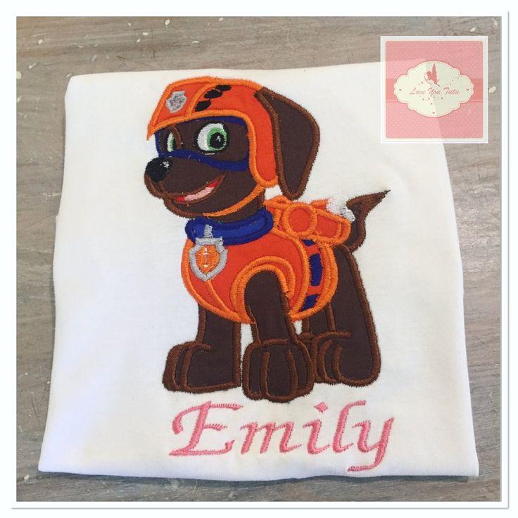 Embroidered Zuma paw patrol design