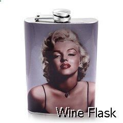 Wine Flask - 316L Stainless Steel Hip Alcohol Liquor Wine Drinking Flask 8oz with Marilyn Monroe Pin Up Girl Design