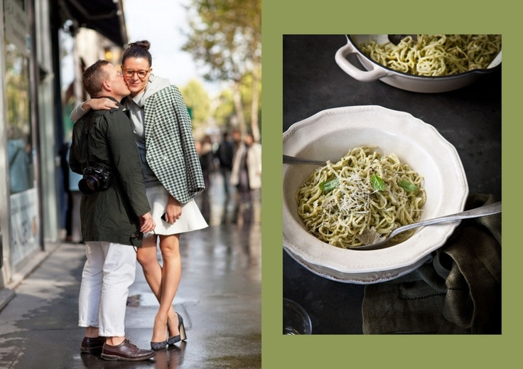 Scott Schuman & Garance Doré // Spaghetti with Almond, Mint and Basil Pesto at What Katie Ate