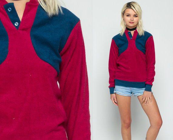 Terry Cloth camicia pulsante Up Polo felpa lunga manica camicia 80s colore bloccare Grunge Blu Navy Borgogna morbido 1980s Nerd Geek Extra Small xs