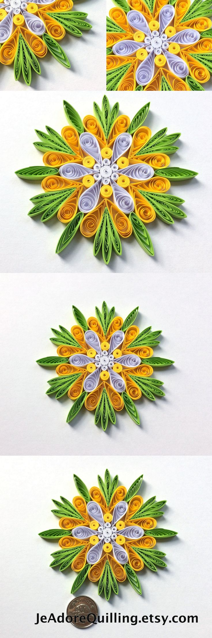 Snowflake Green Yellow White Christmas Tree Decoration Winter Ornaments Gifts Toppers Fillers Office Corporate Paper Quilling Quilled Art