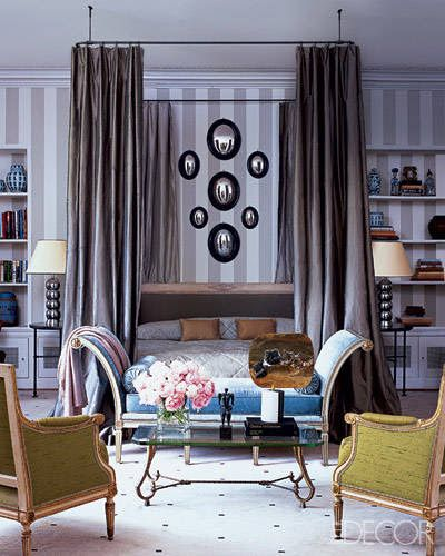 Jamie Creel & Marco Scarani | Elle Decor Gray and white vertical stripped walls Parisian classic